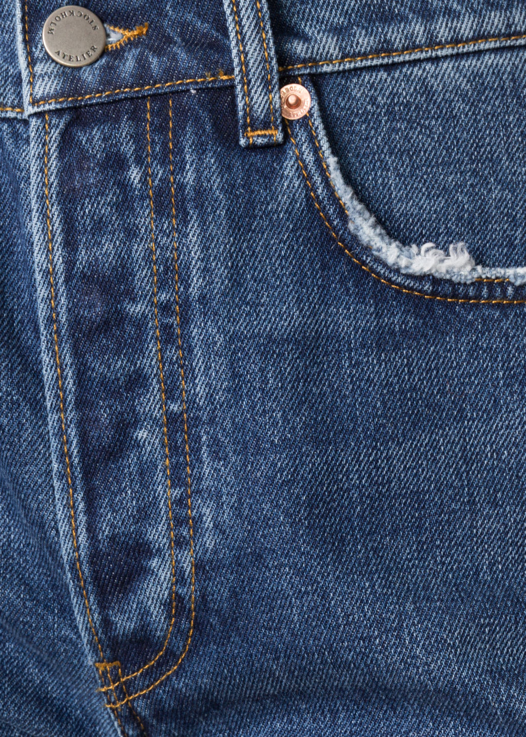 Detailed image of Stories loose leg denim jeans in blue