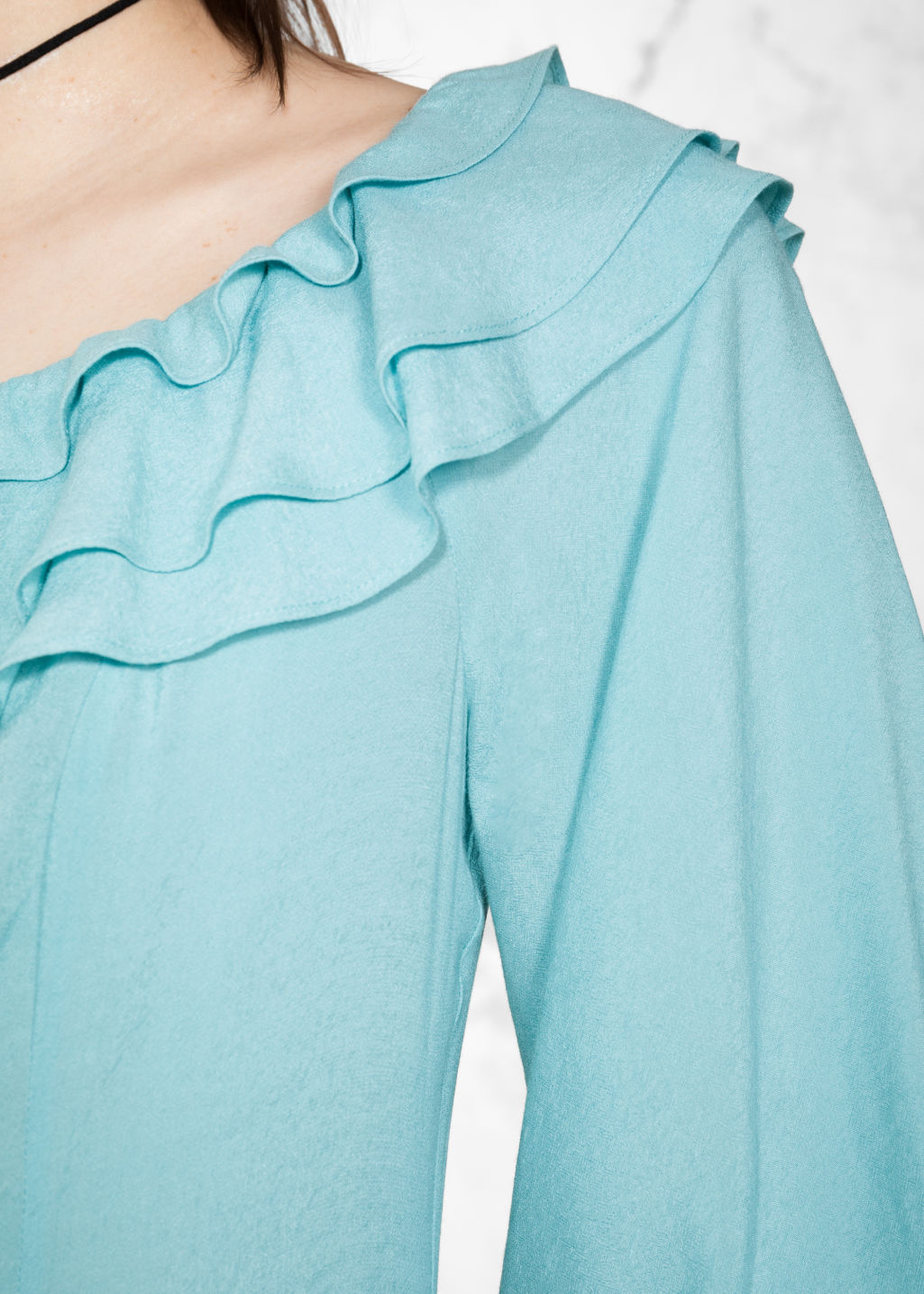 Detailed image of Stories layered frill dress in turquoise