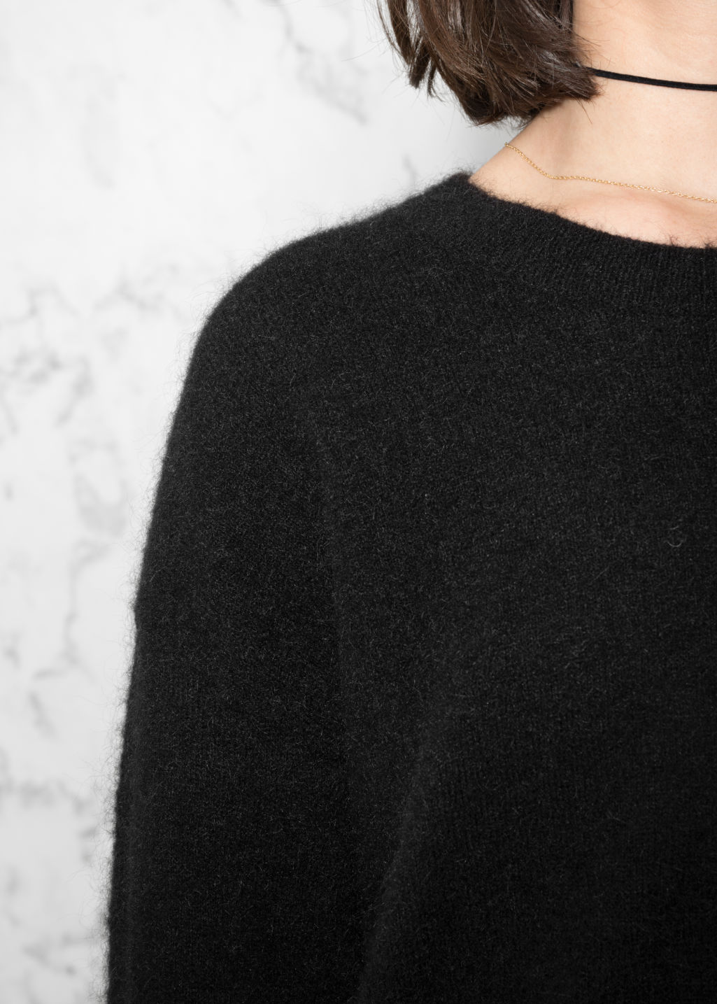 Detailed image of Stories mohair & wool sweater in black