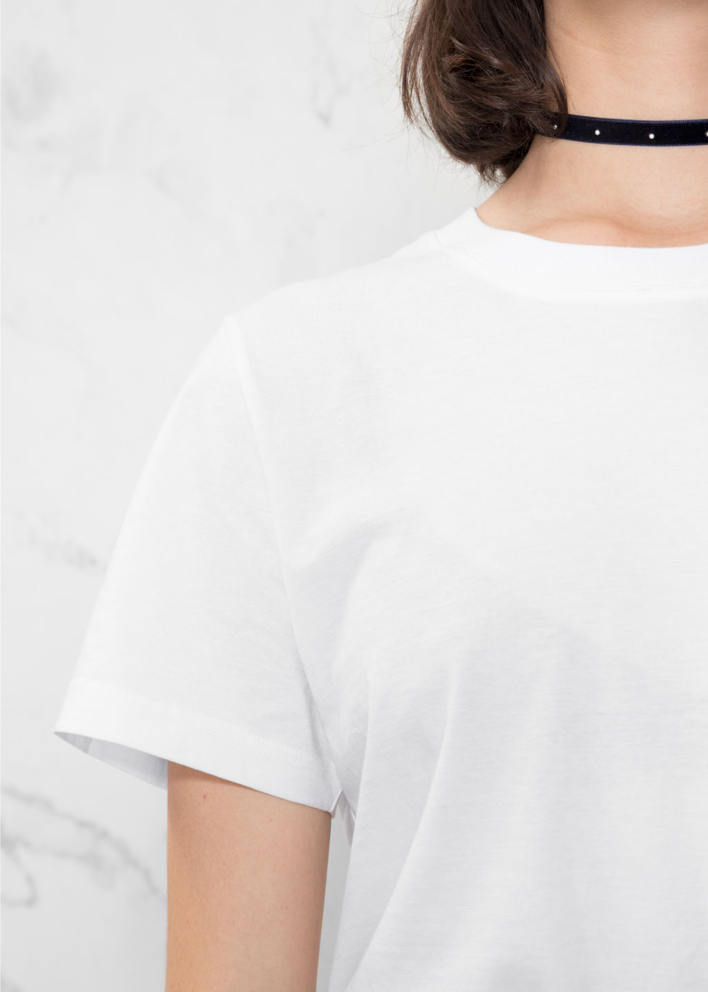Detailed image of Stories cotton t-shirt in white