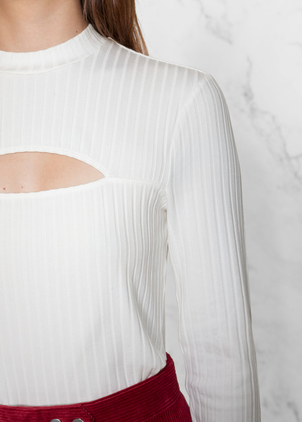 Detailed image of Stories chest slit top in white