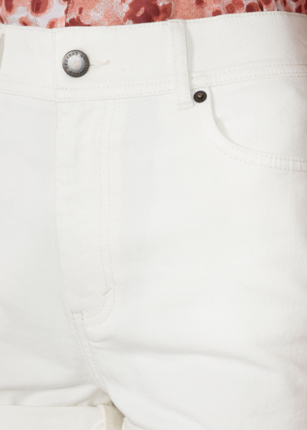 Detailed image of Stories high waist denim shorts in white