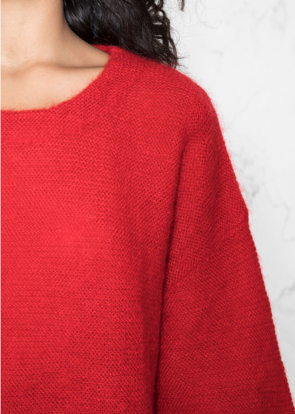 Detailed image of Stories wool blend sweater in red