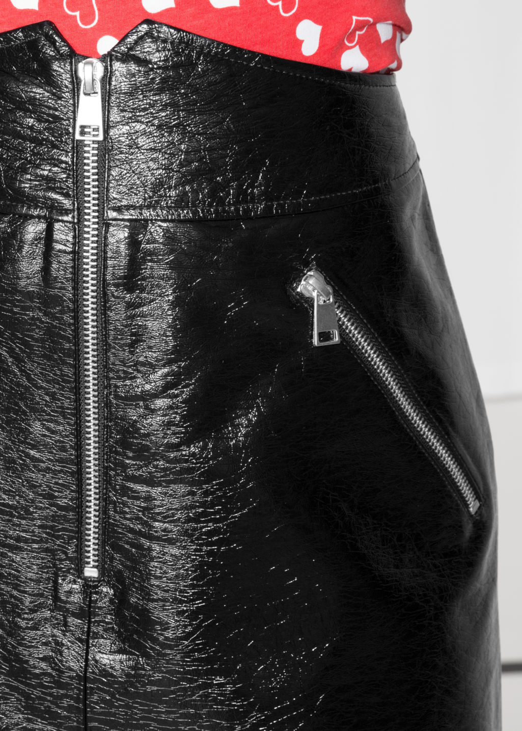Detailed image of Stories high waisted leather skirt in black