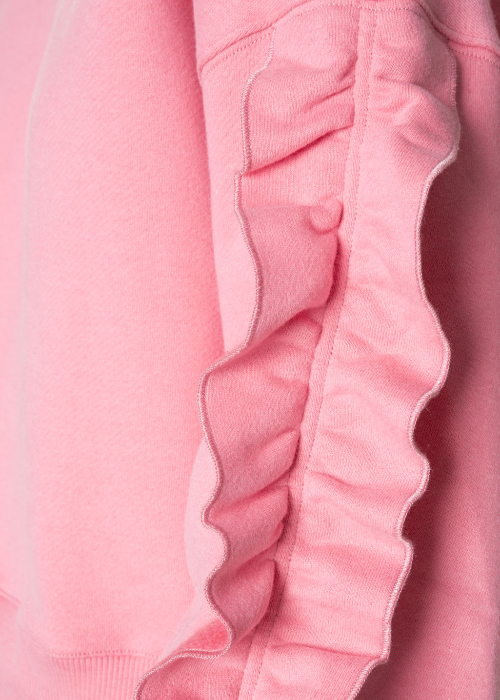 Detailed image of Stories frill sleeve sweater in pink