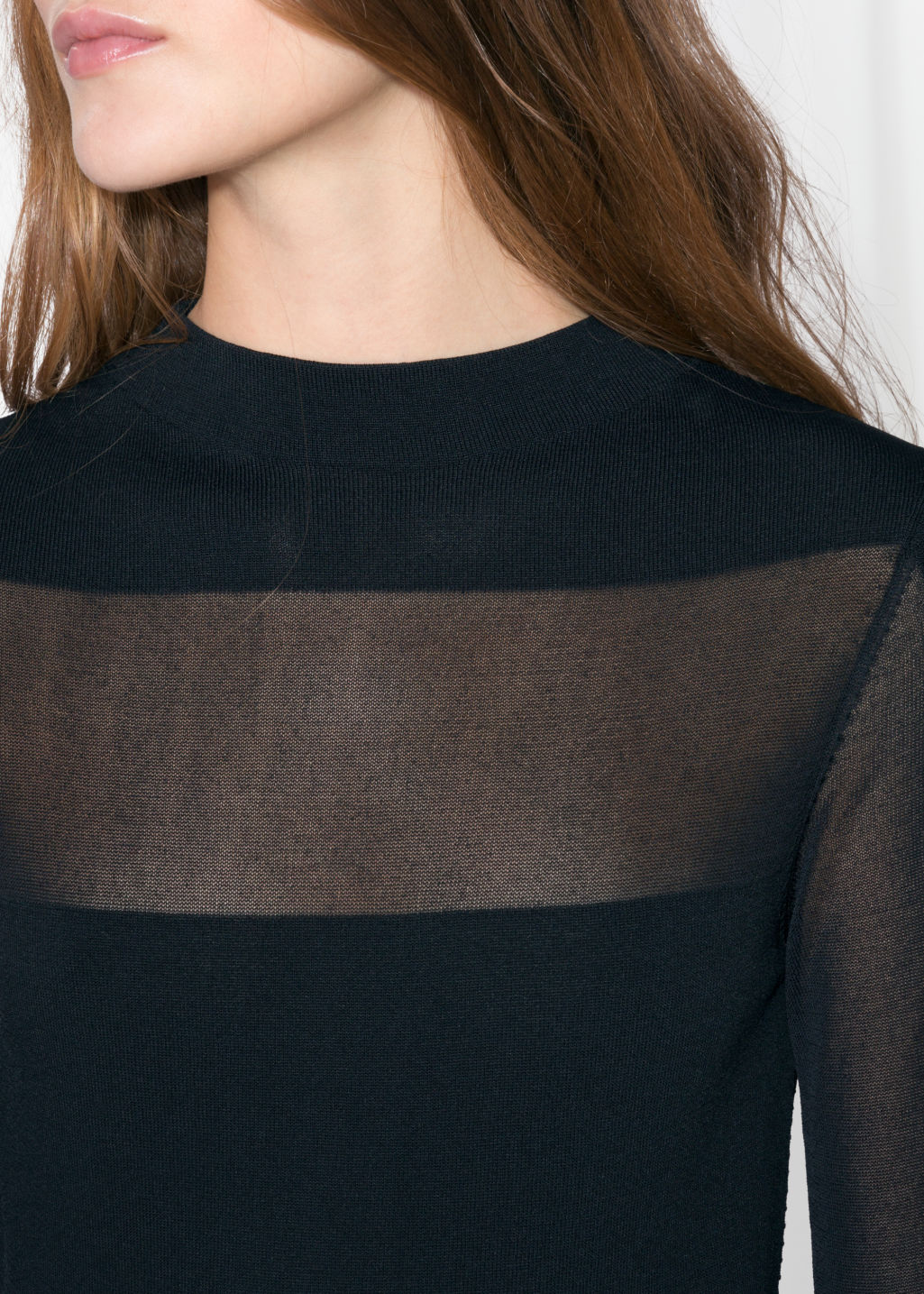 Detailed image of Stories semi-sheer knit dress in black