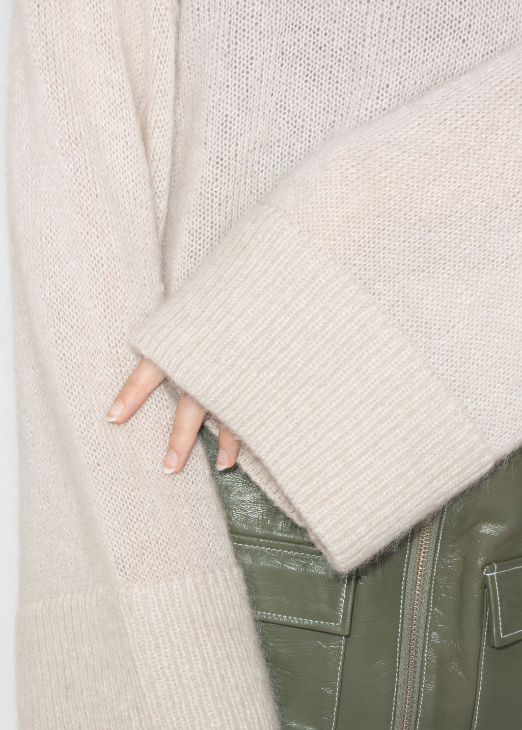 Detailed image of Stories mohair jumper in beige