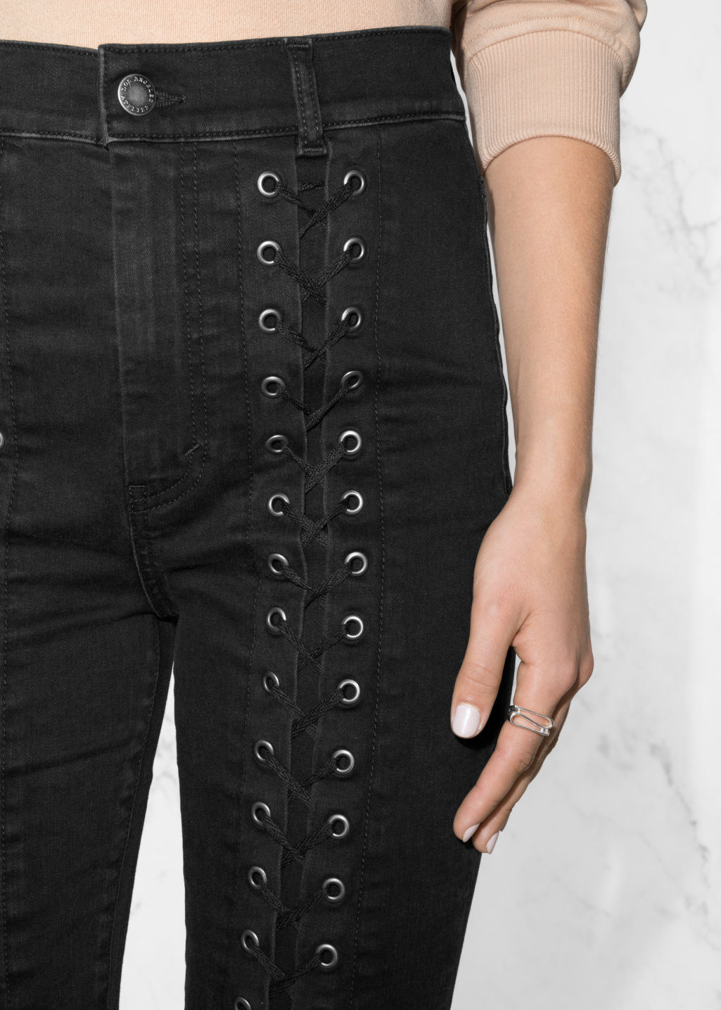 Detailed image of Stories lace-up denim jeans in black