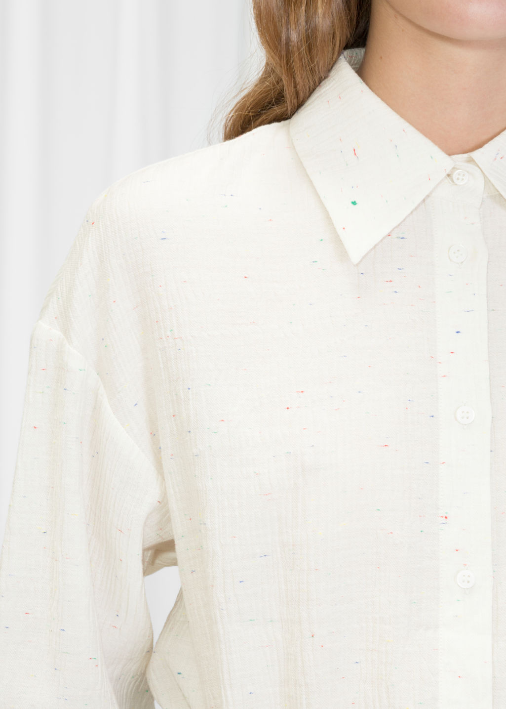Detailed image of Stories button up blouse in white