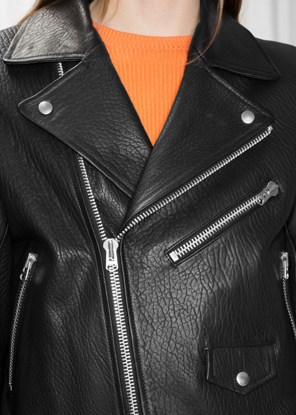 Detailed image of Stories leather biker jacket in black