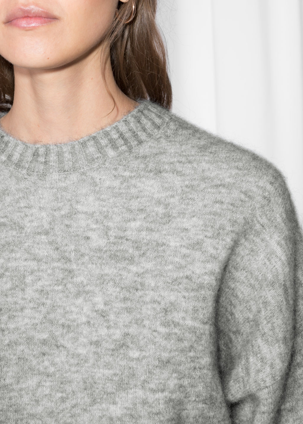 Detailed image of Stories wool blend sweater in grey