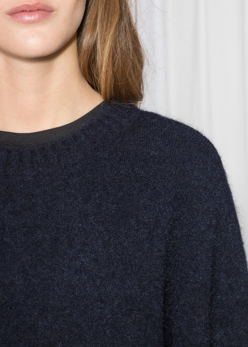 Detailed image of Stories wool blend sweater in blue