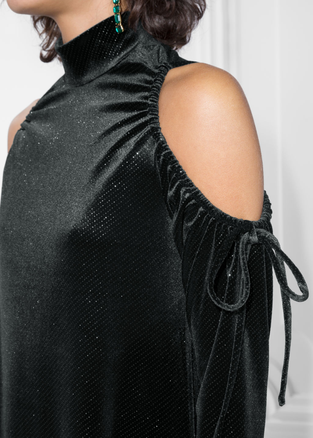 Detailed image of Stories velour cut-out shoulders dress in black
