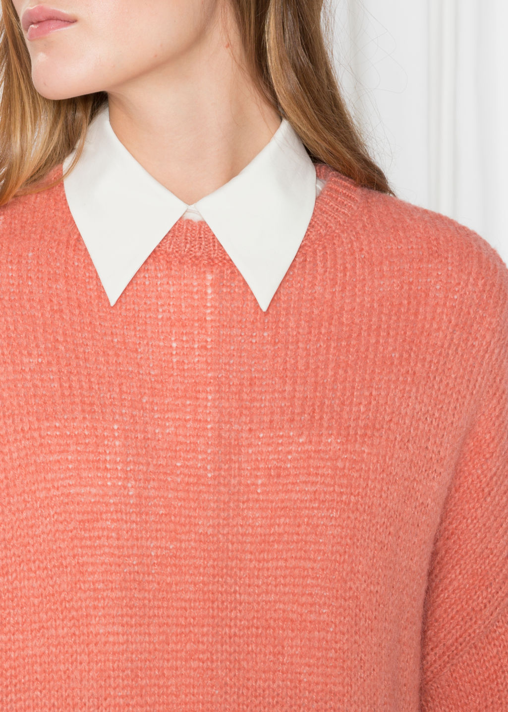 Detailed image of Stories oversized sweater in orange