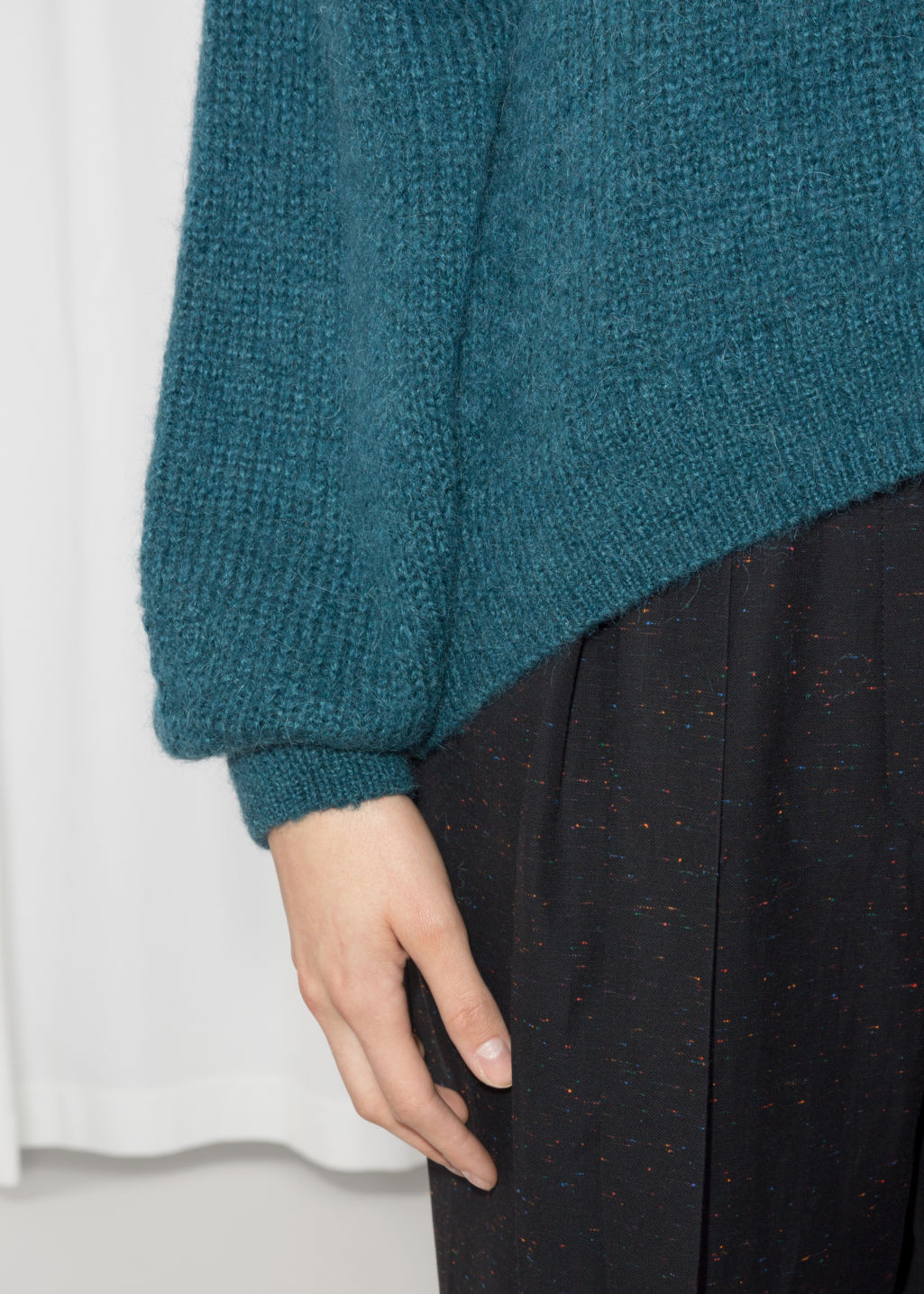 Detailed image of Stories oversized sweater in turquoise