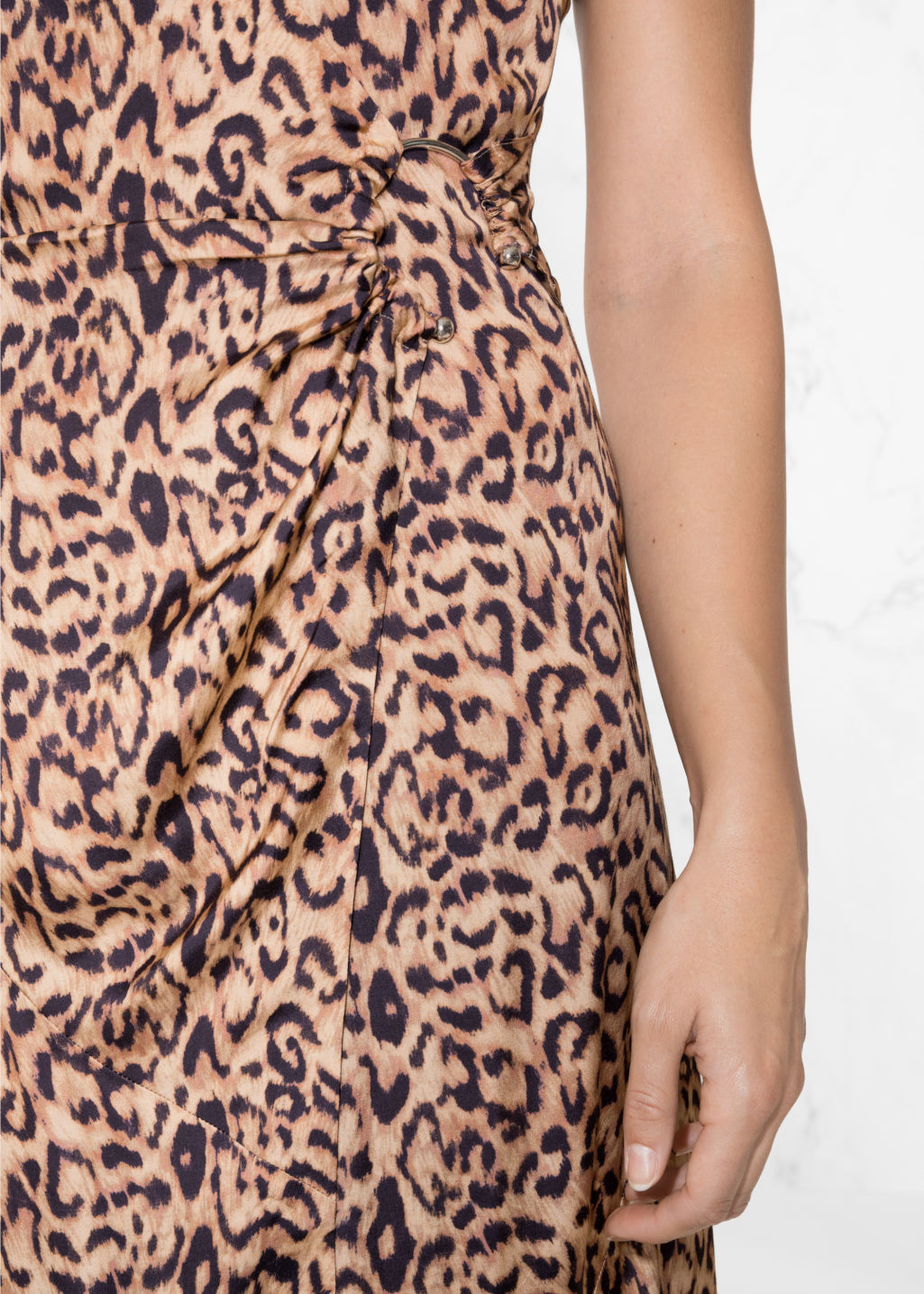Detailed image of Stories leo thin strap dress in beige