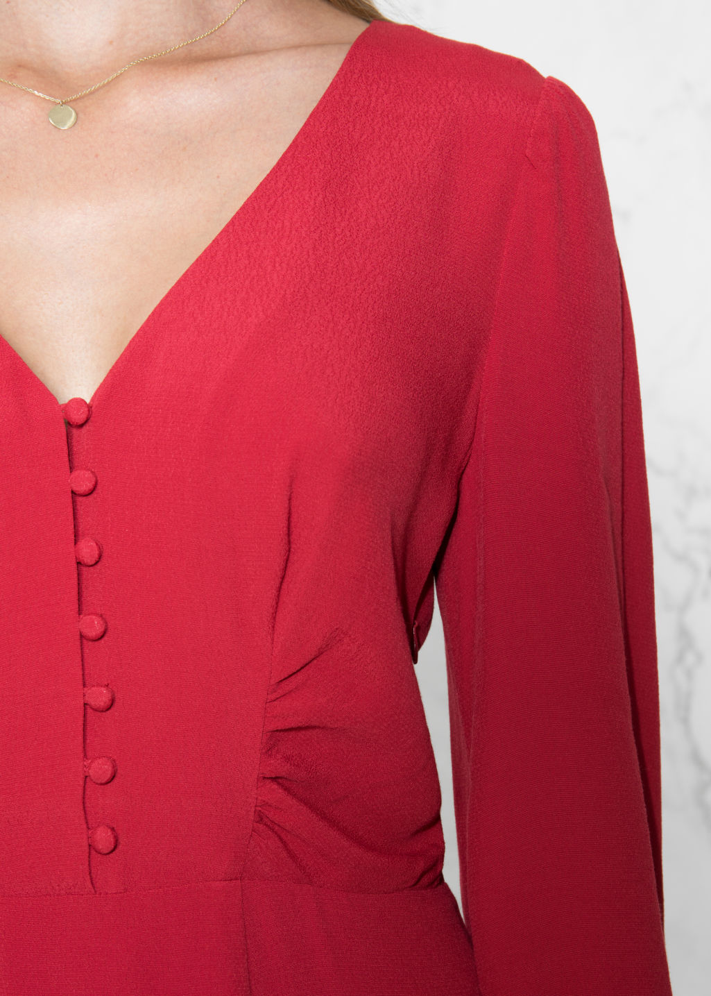 Detailed image of Stories a-line dress in red