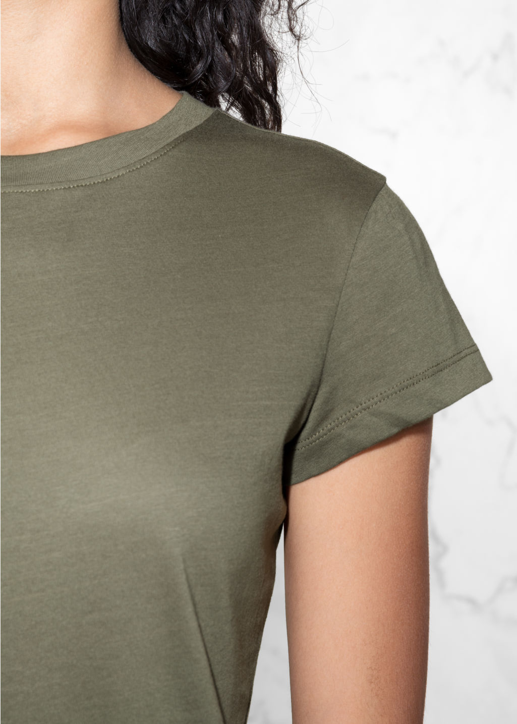 Detailed image of Stories organic cotton t-shirt in green