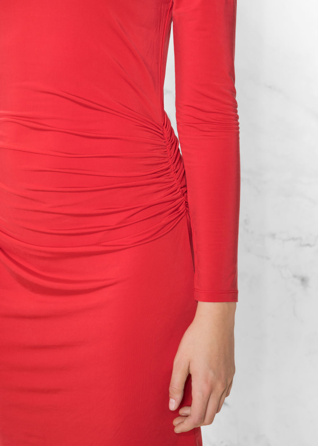Detailed image of Stories draped mini dress in red