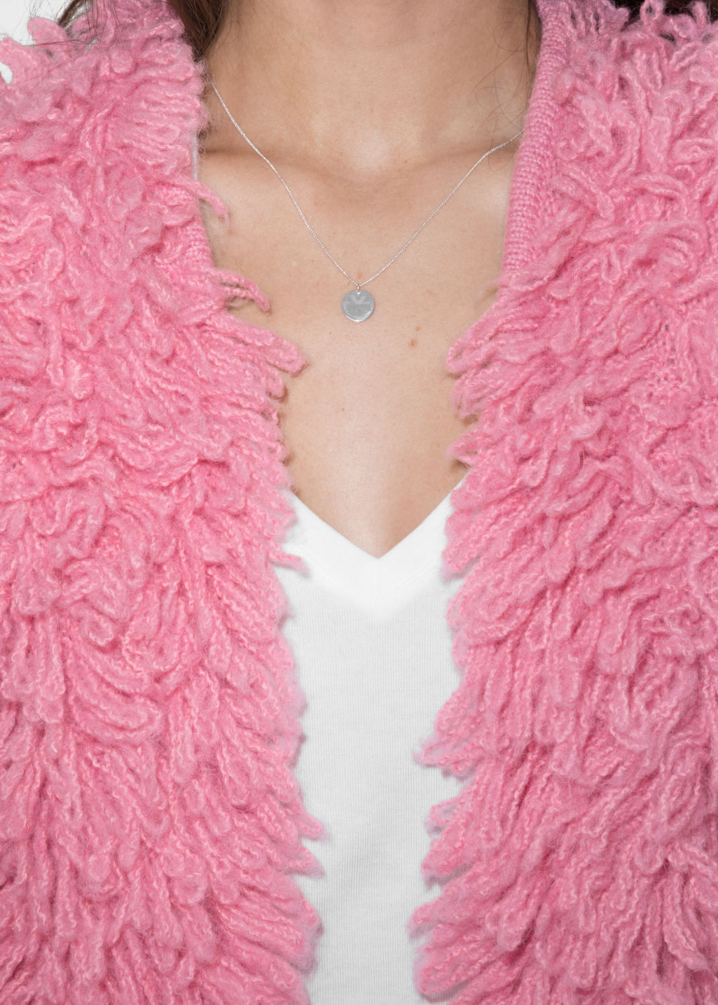 Detailed image of Stories shaggy wool-blend knit in pink