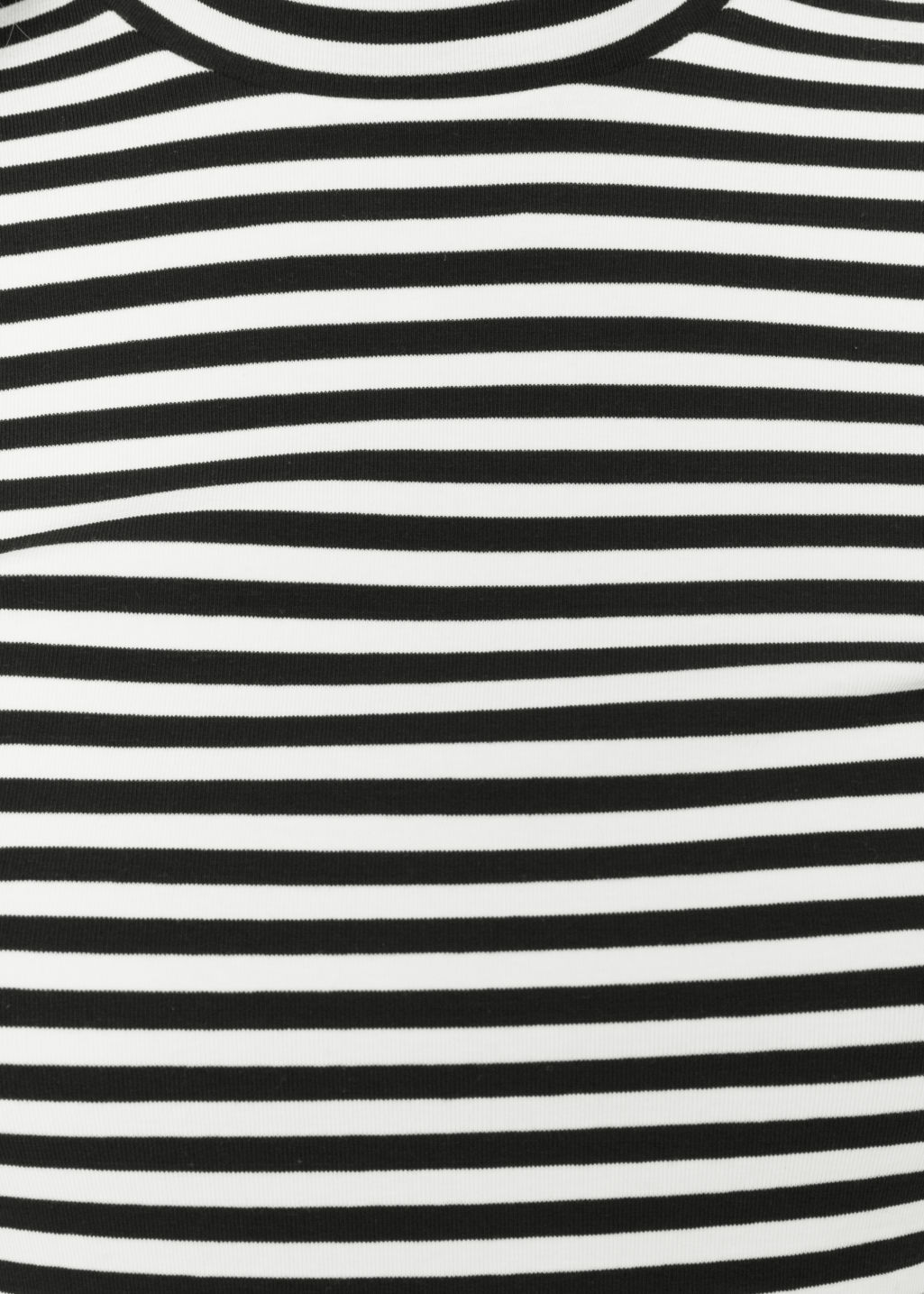 Detailed image of Stories striped jersey turtleneck in black
