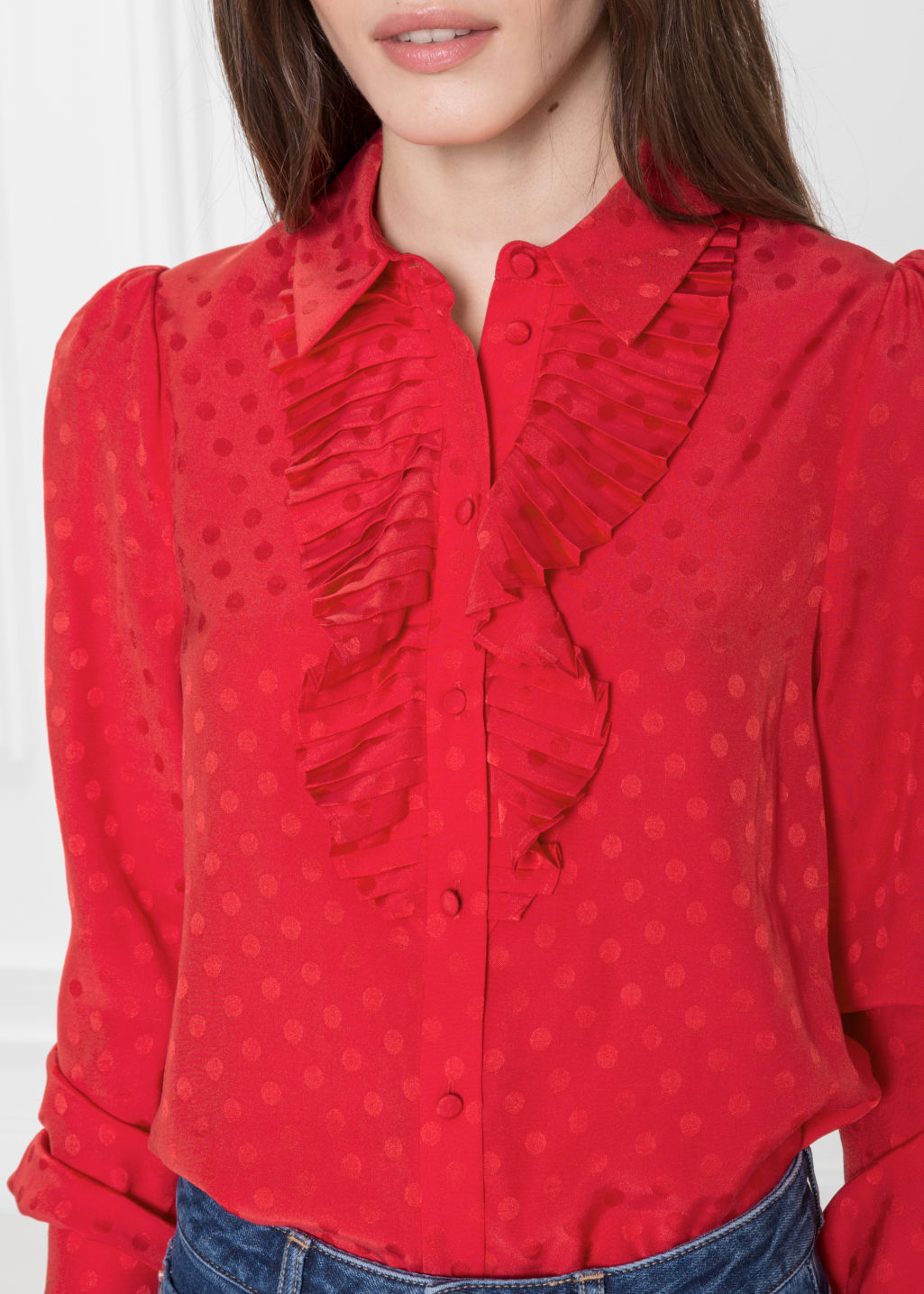 Detailed image of Stories ascot ruffle blouse in red