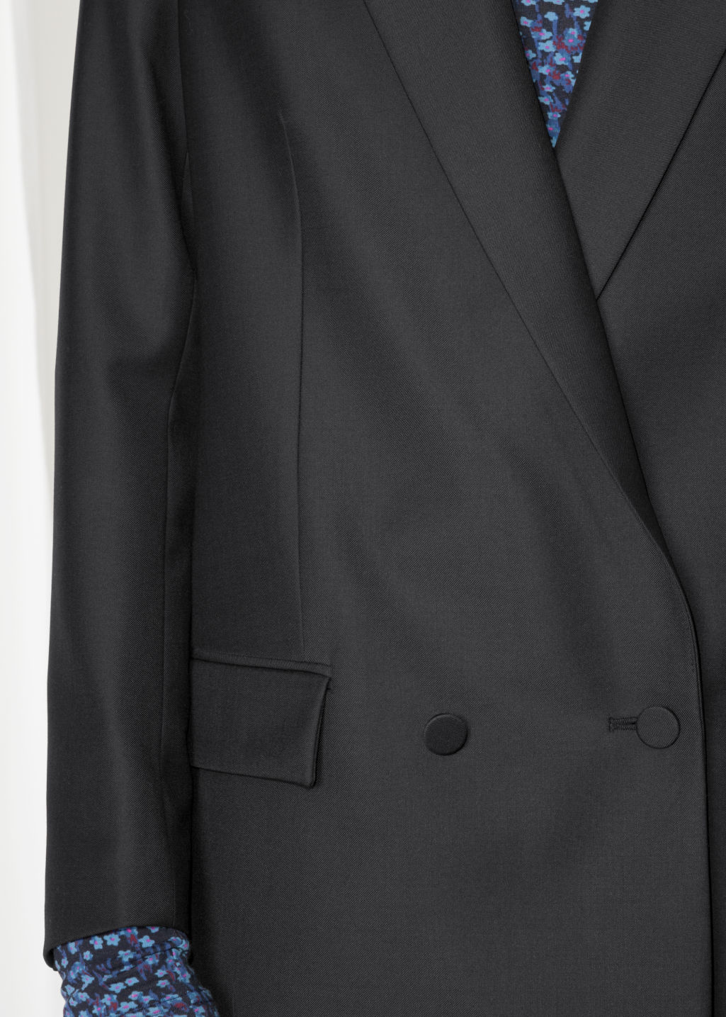 Detailed image of Stories double breasted blazer in black