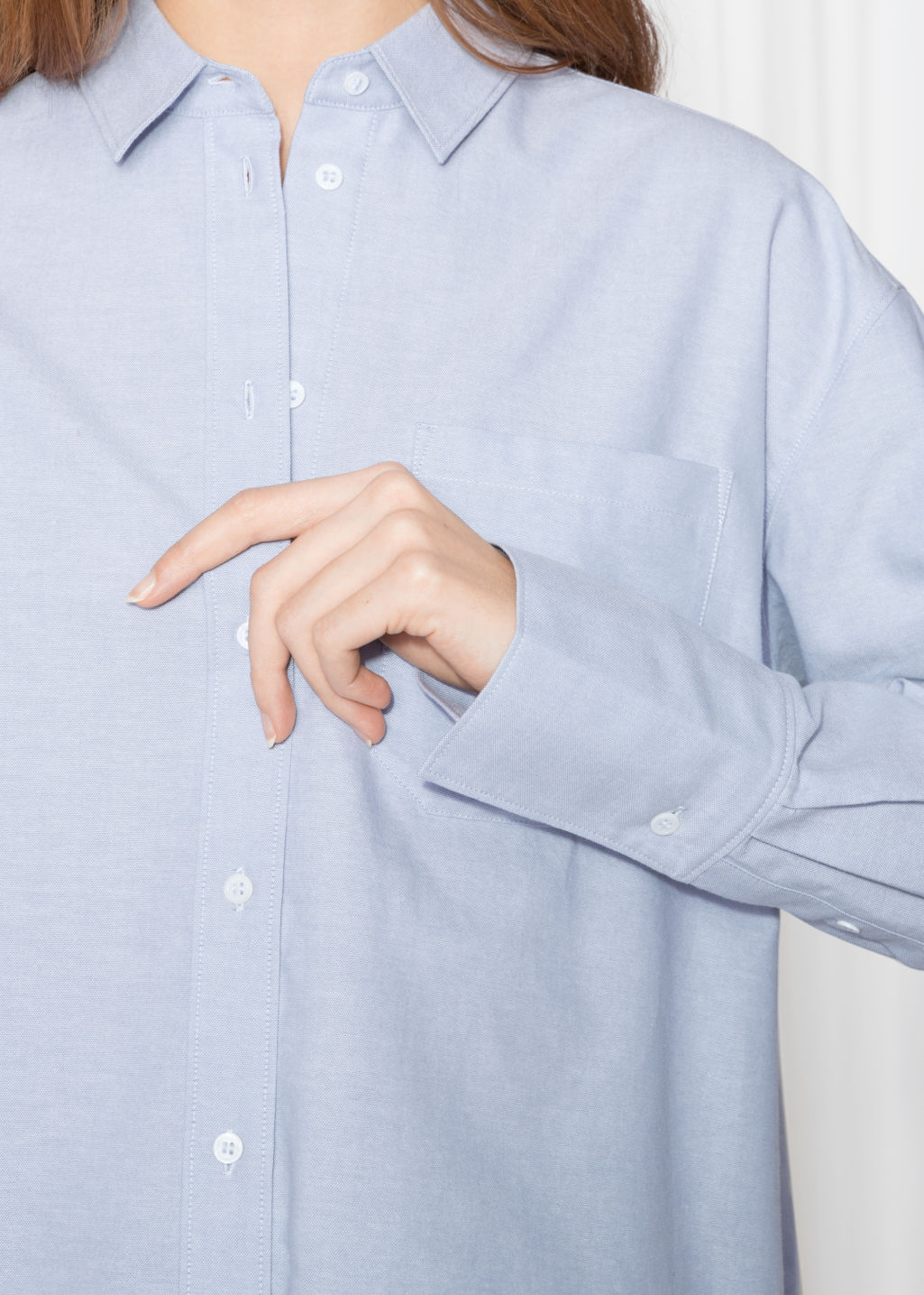 Detailed image of Stories oversized button down shirt in blue