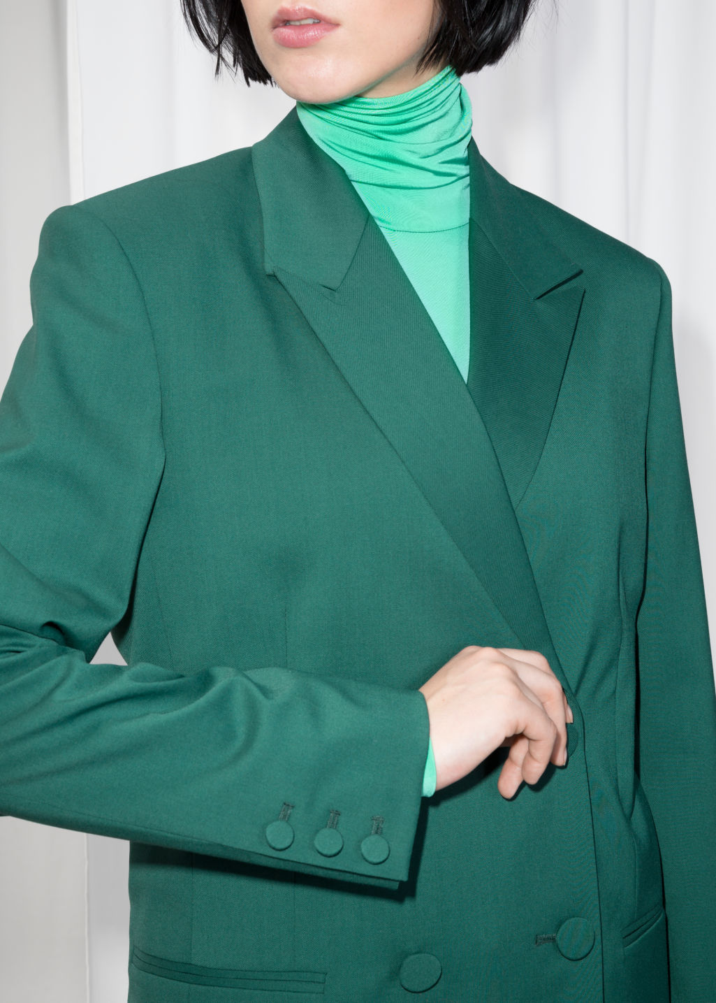 Detailed image of Stories oversized wool-blend blazer  in green