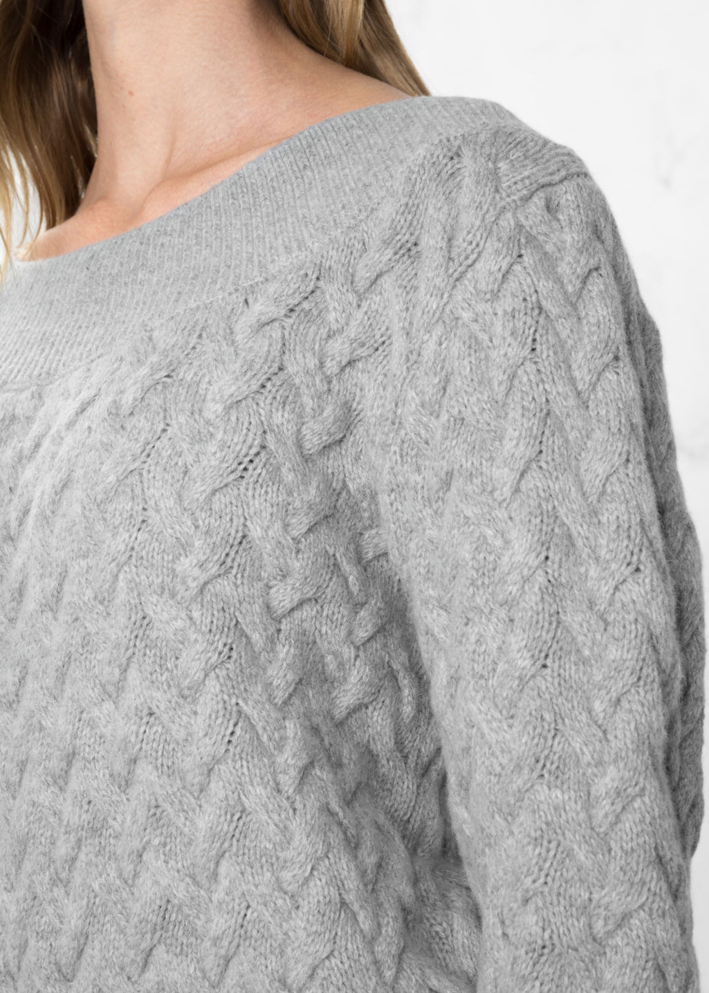 Detailed image of Stories wool-blend cable-knit sweater in grey