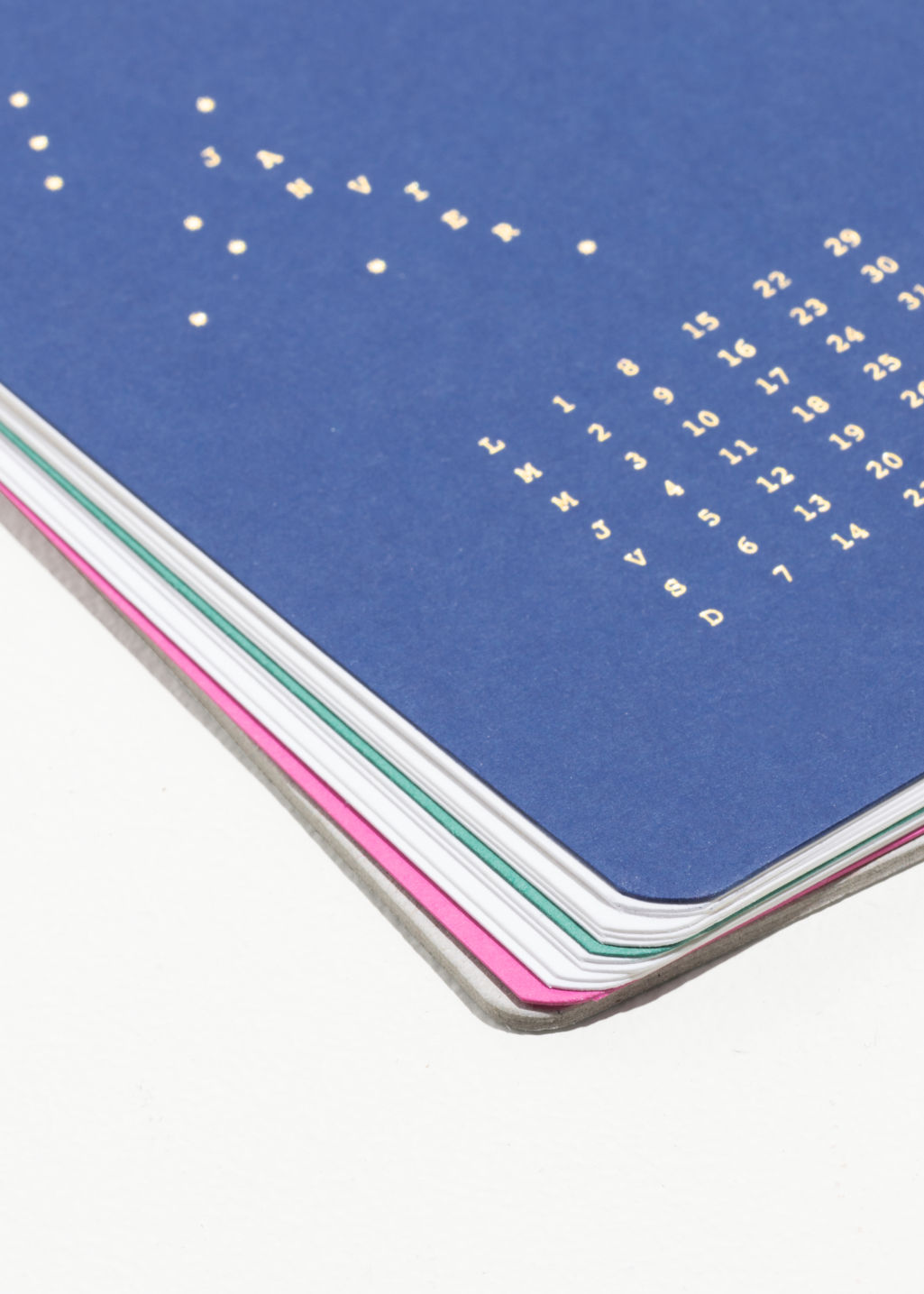 Detailed image of Stories monthly calendar cards in gold