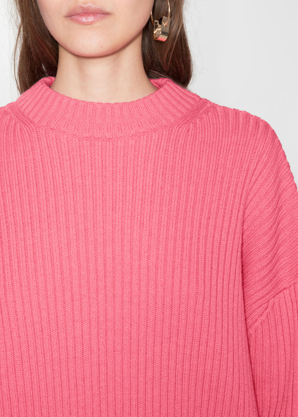 Detailed image of Stories oversized straight sweater in pink