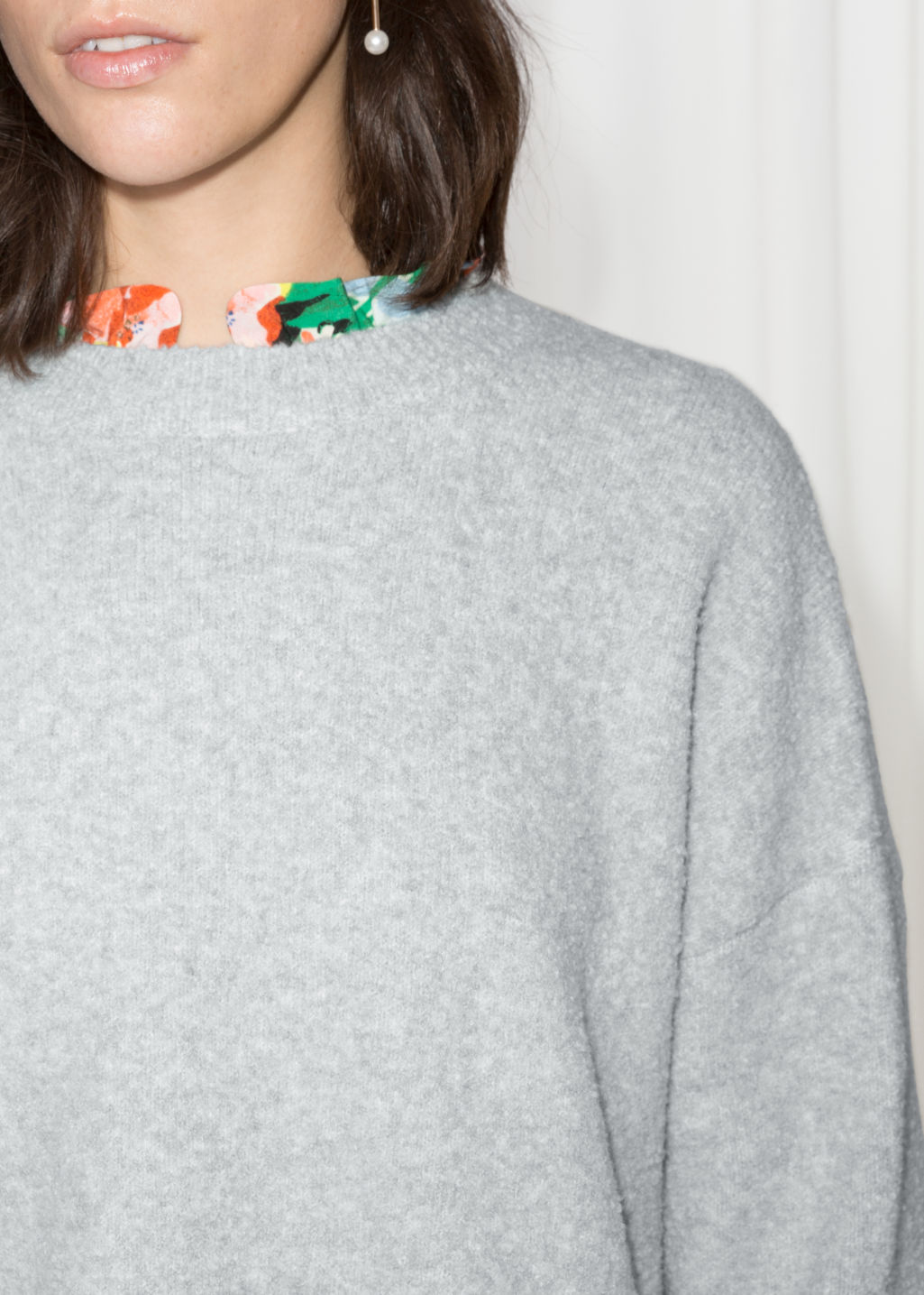 Detailed image of Stories boxy knit sweater in grey