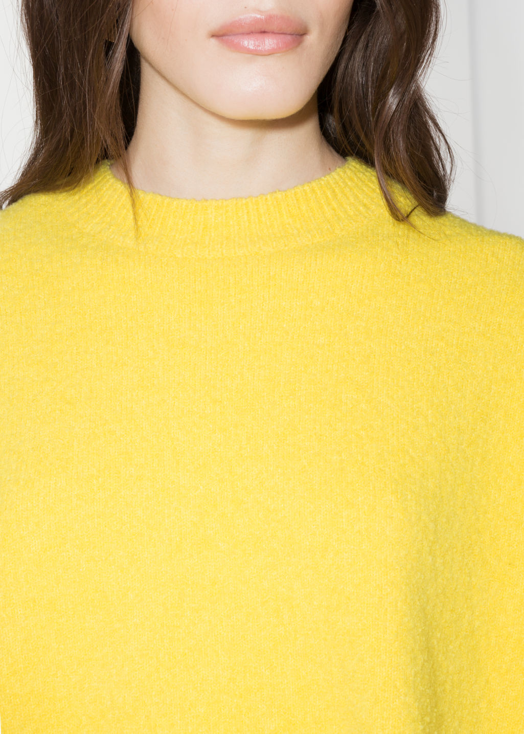 Detailed image of Stories boxy knit sweater in yellow
