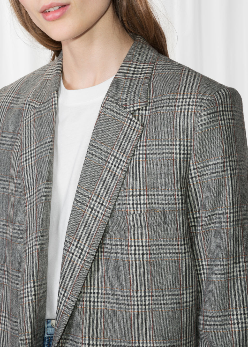 Detailed image of Stories tapered blazer in grey