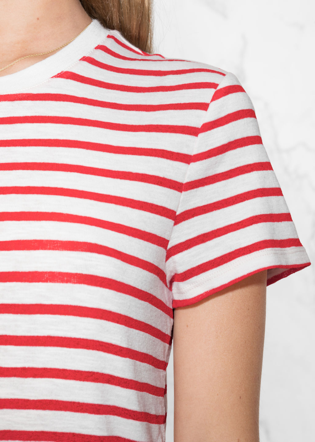 Detailed image of Stories stripe cotton tee in red