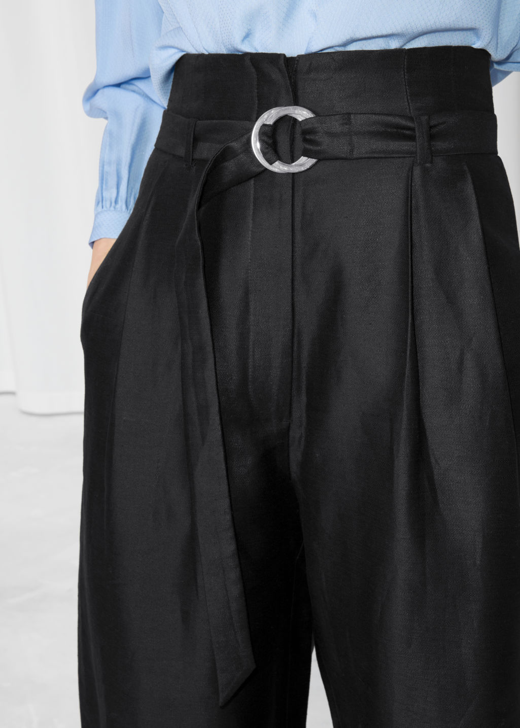 Detailed image of Stories d-ring belted culottes in black