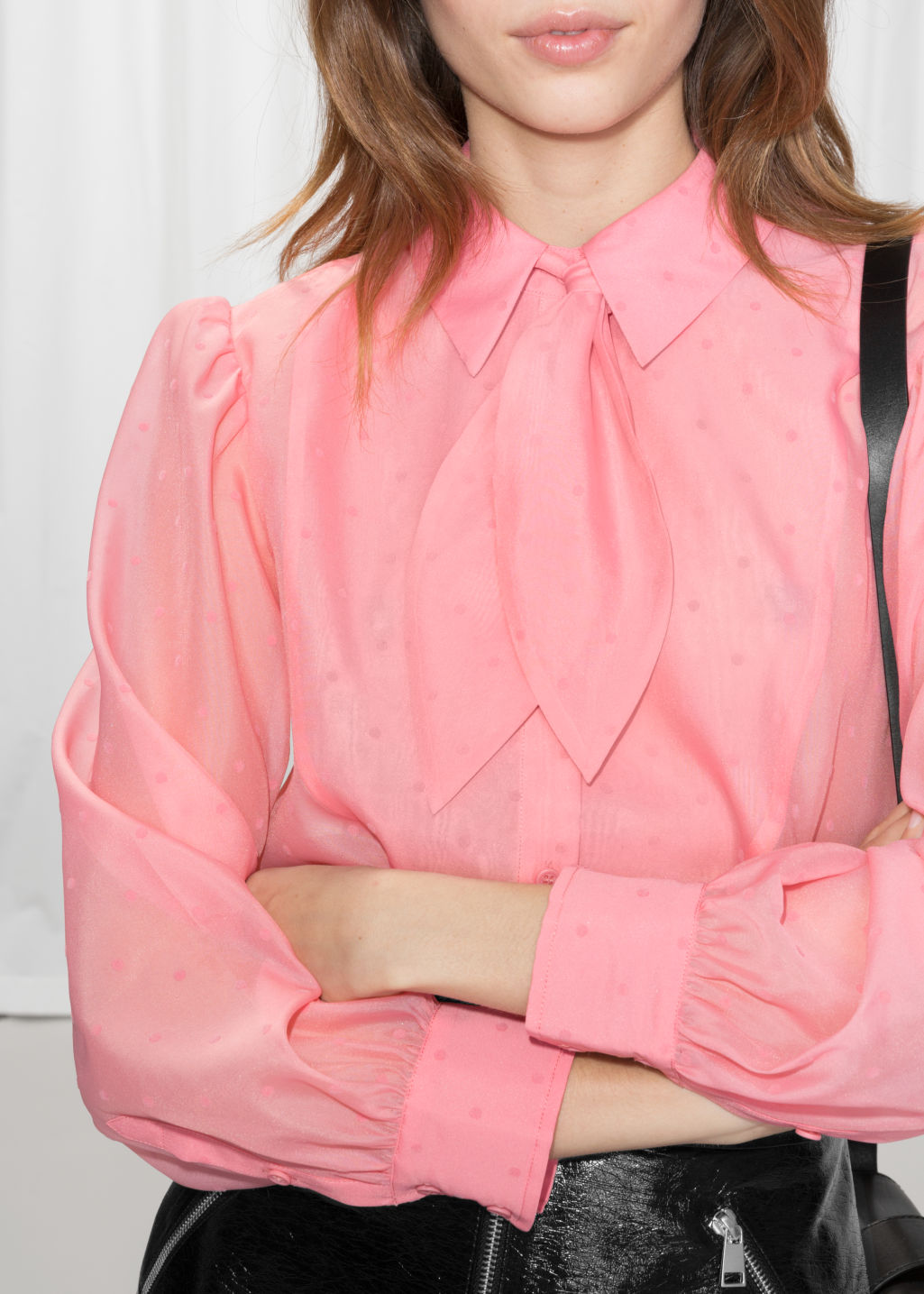Detailed image of Stories sheer collared tie blouse in pink