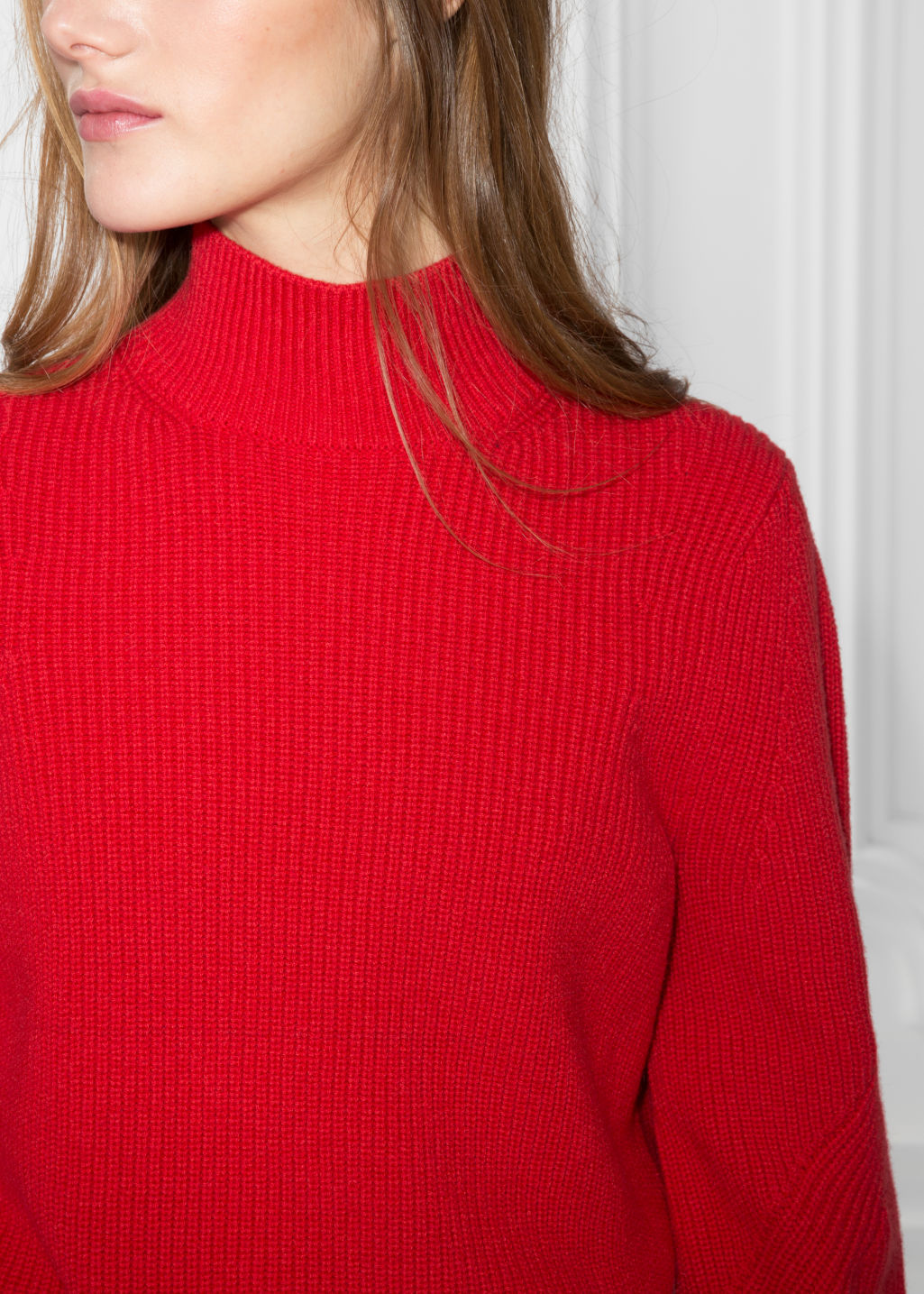 Detailed image of Stories puffy sleeve sweater in red