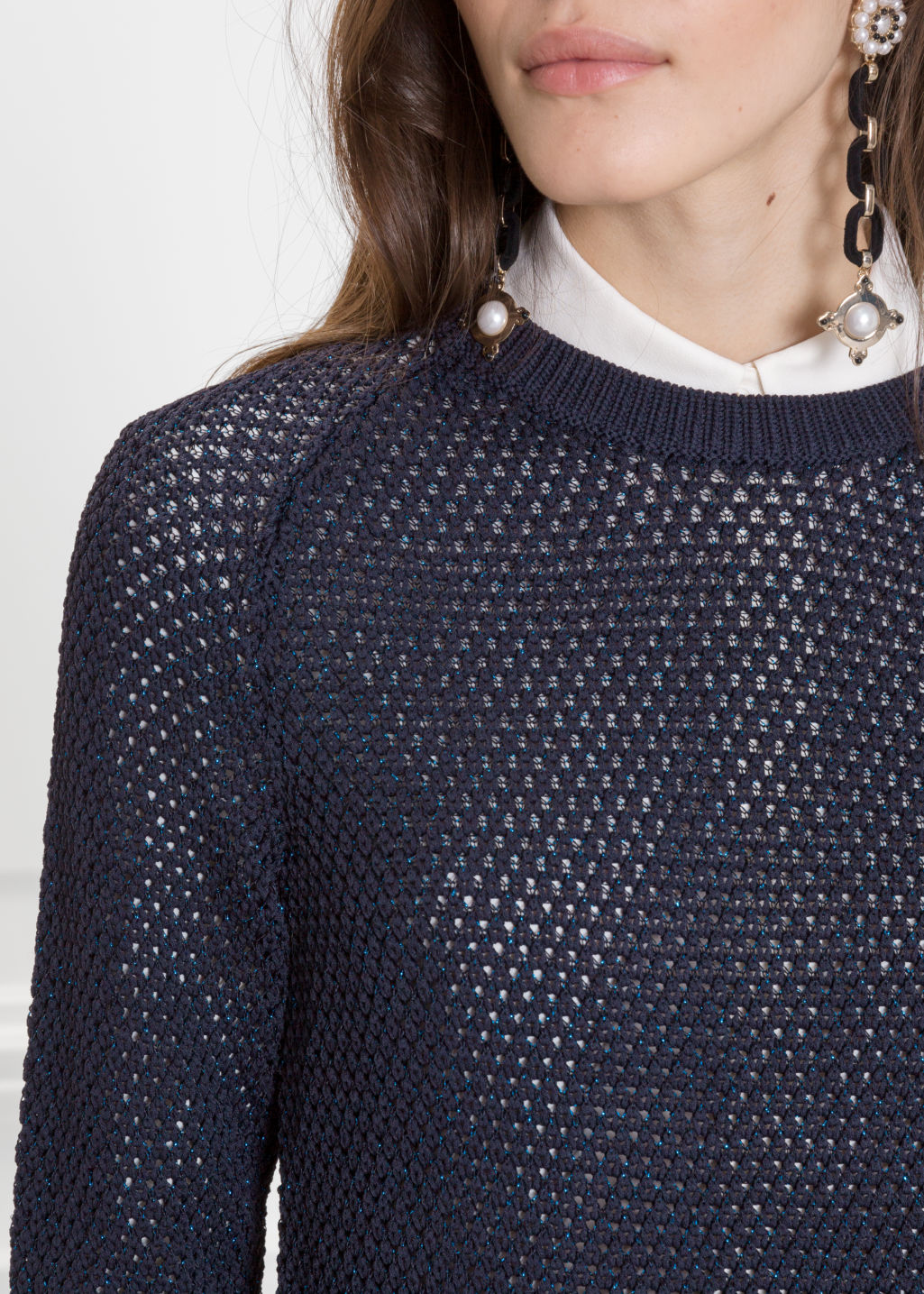 Detailed image of Stories micro honeycomb knit sweater in blue