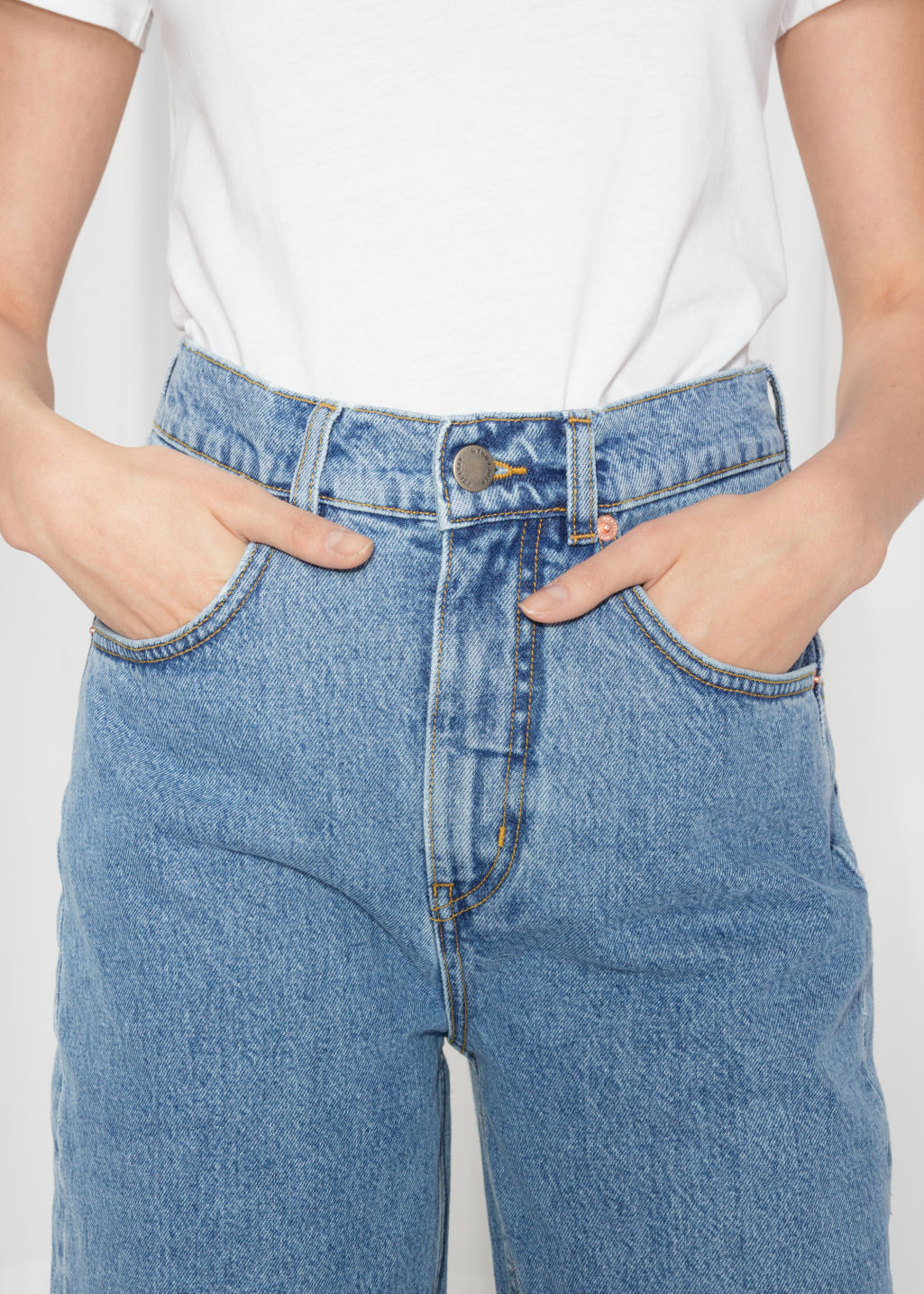 Detailed image of Stories high waisted culotte jeans in blue