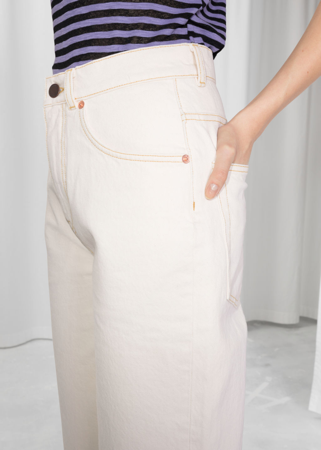 Detailed image of Stories high waisted culotte jeans in white