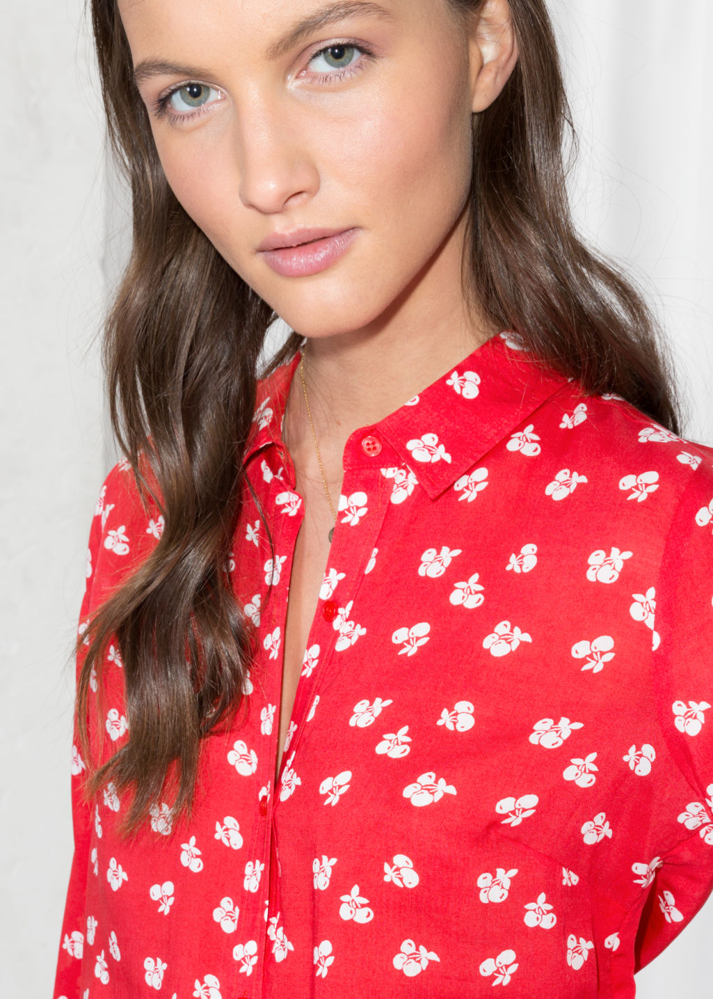 Detailed image of Stories cherry print button down in red