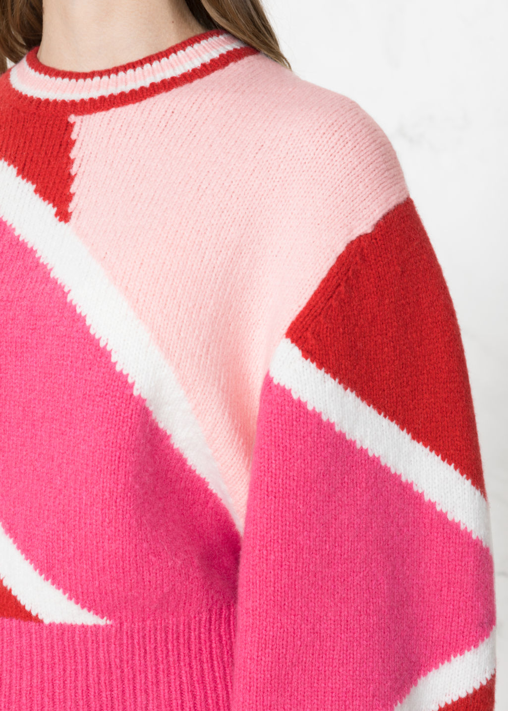 Detailed image of Stories color block sweater in pink