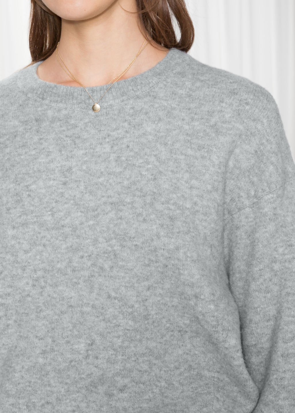 Detailed image of Stories crewneck sweater in grey