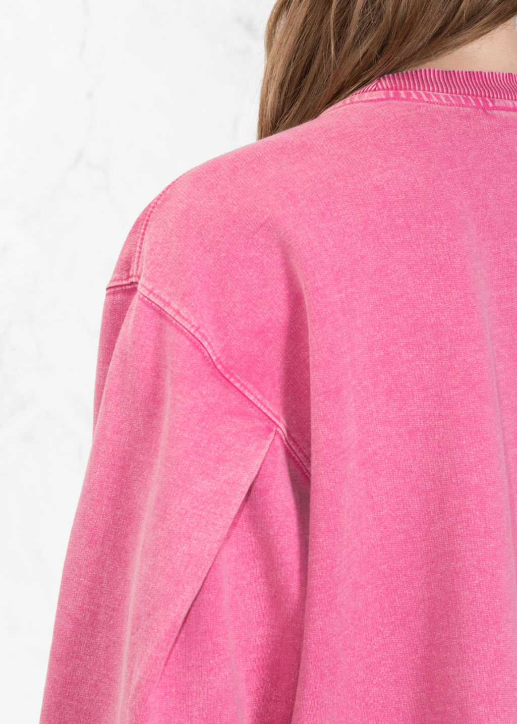 Detailed image of Stories cropped pullover in pink