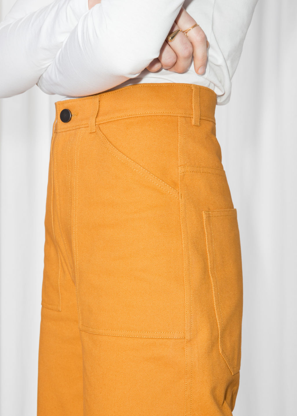 Detailed image of Stories workwear culottes in yellow