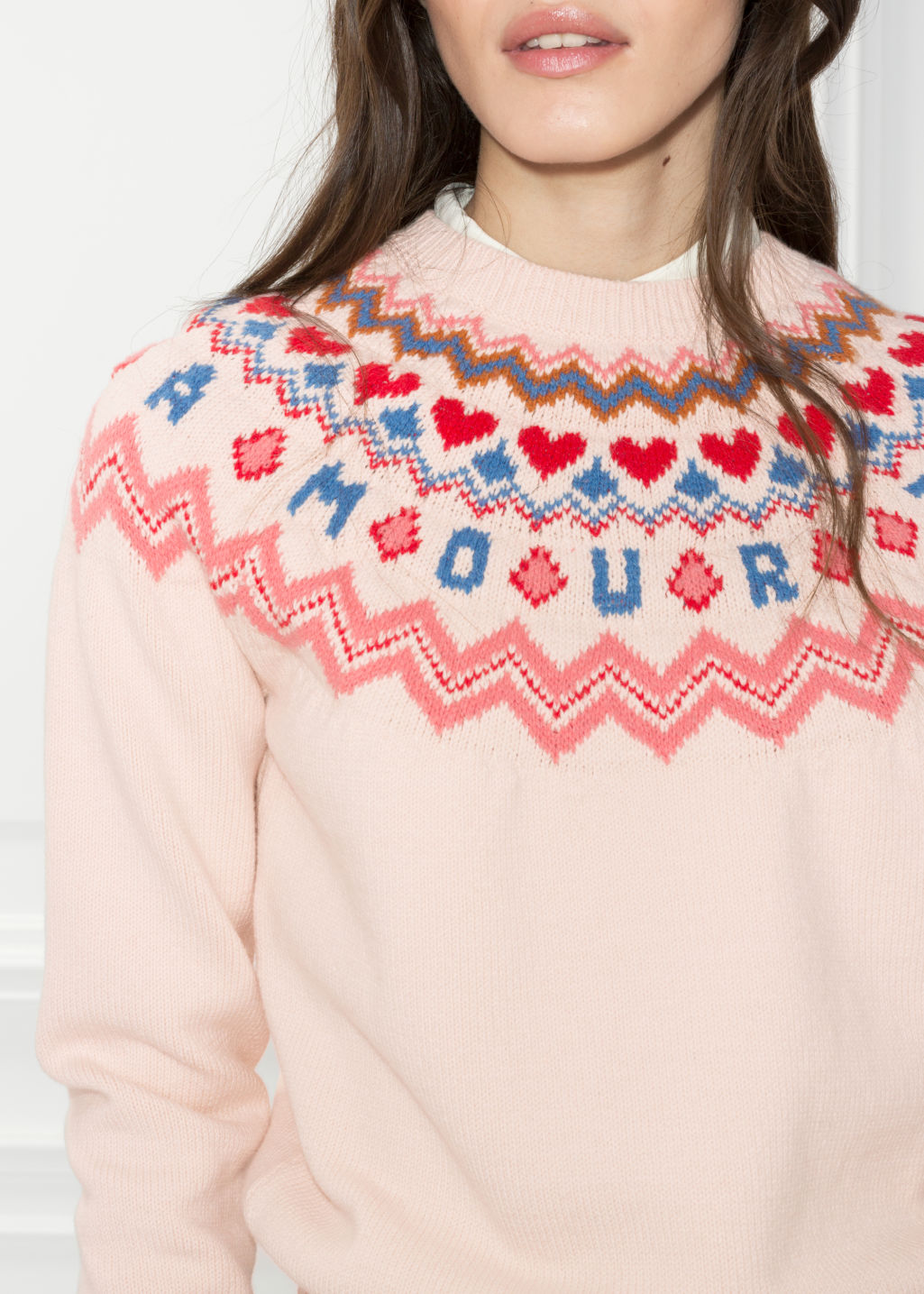Detailed image of Stories amour sweater in pink