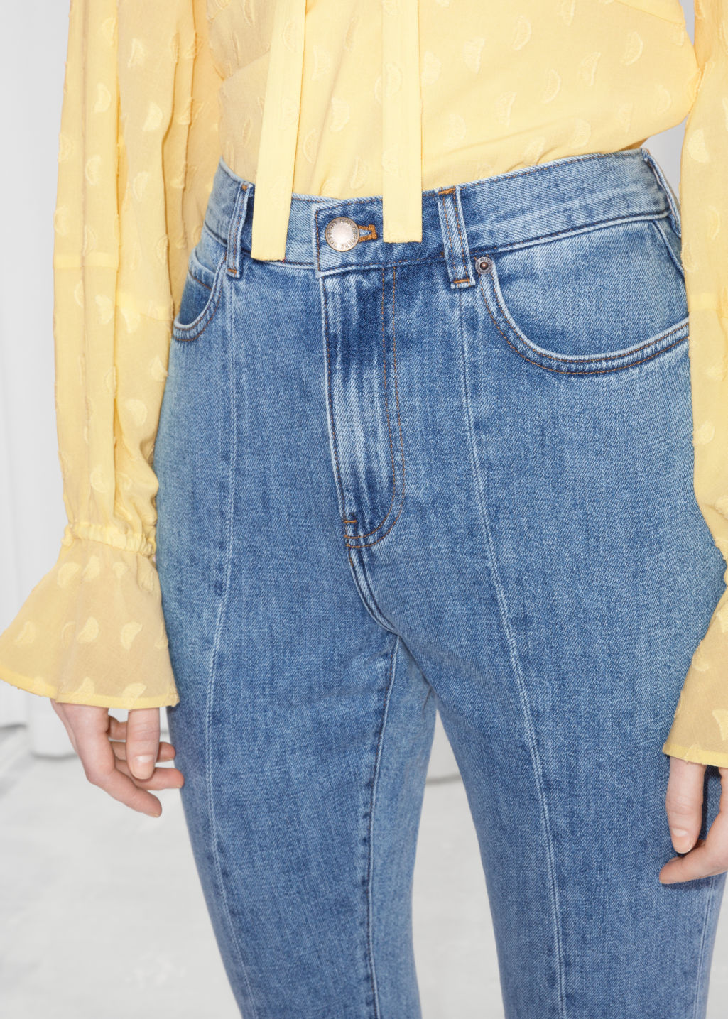 Detailed image of Stories high kick flare jeans  in blue