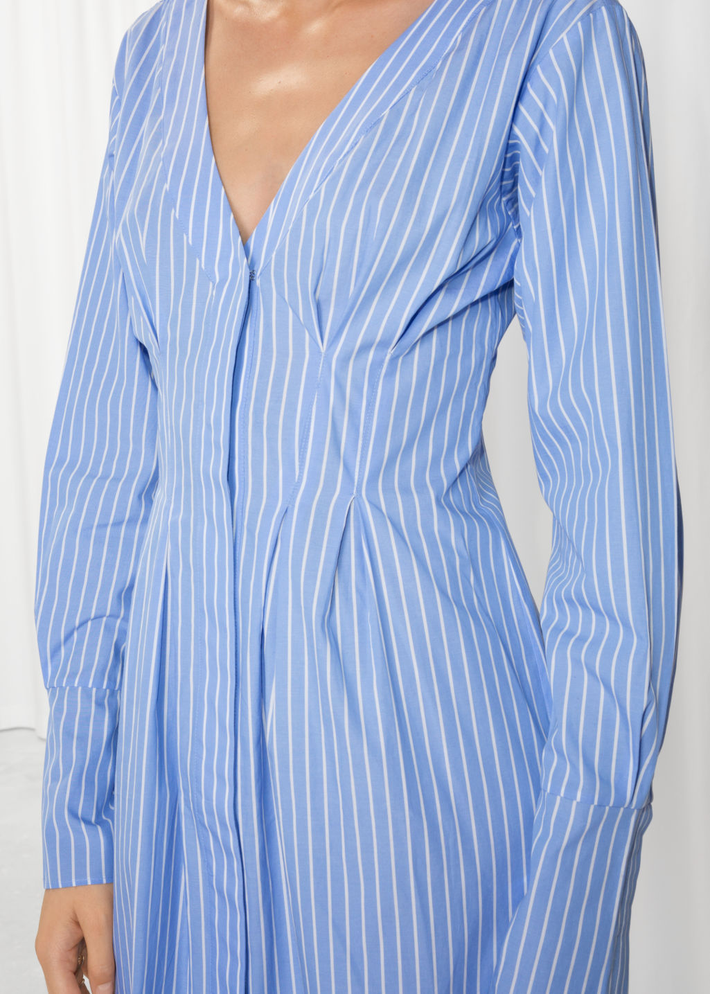 Detailed image of Stories pin stripe fit and flare dress in blue